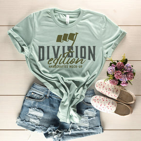 Shirt Mockup  - Bella Canvas 3001 Shirt - Heather Dusty Blue - Outfit Flat lay - Apparel Photography #0671