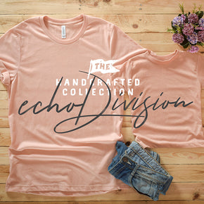 Couple Shirt Mockup - Bella + Canvas - Unisex Short Sleeve Jersey Tee - 3001 Heather Peach - 3413T Peach Triblend #0307