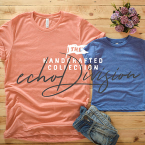 Couple Shirt Mockup - Bella + Canvas - Unisex Short Sleeve Jersey Tee - 3001 Heather Sunset - 3413T Blue Triblend #0308