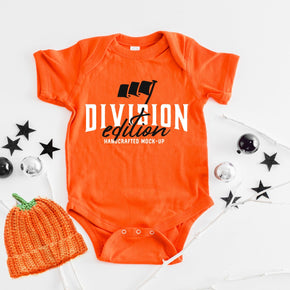 Shirt Mockup  - Rabbit Skins - Infant Baby Rib Bodysuit - 4400 Orange - Outfit Flat lay - Apparel Photography #0872