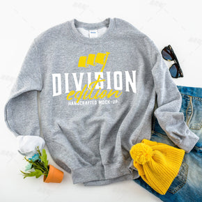 Fall mockup - Gildan  - Heavy Blend Crewneck Sweatshirt - 18000 mockup -  Sport Grey - flat lay - photography #0347
