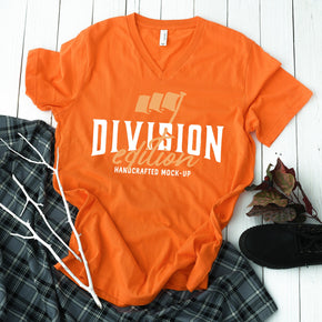 Shirt Mockup  - Bella + Canvas - Unisex Short Sleeve V-Neck T-Shirt  - 3005 Orange - Apparel Photography #0556