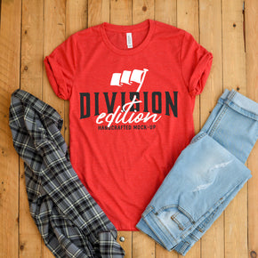 Shirt Mockup  - Bella Canvas 3001 Shirt - Heather Red  - Outfit Flat lay - Apparel Photography #0703