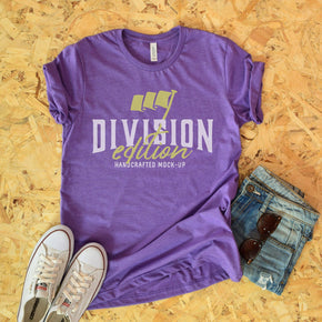 Shirt Mockup  - Bella Canvas 3001 T-Shirt -  Heather Team Purple - Outfit Flat lay - Apparel Photography #0612