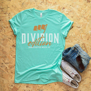 Shirt Mockup  - Bella Canvas 3001 T-Shirt -  Heather  Mint  - Outfit Flat lay - Apparel Photography #0596