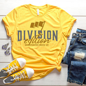 Shirt Mockup  - Bella Canvas 3001 Shirt - Heather Yellow Gold  - Outfit Flat lay - Apparel Photography #0717