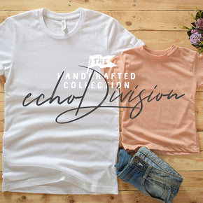 Couple Shirt Mockup - Bella + Canvas - Unisex Short Sleeve Jersey Tee - 3001 White - 3413T Peach Triblend #0313