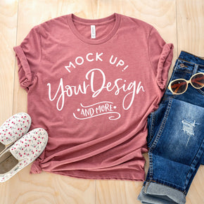 Shirt Mockup  - Bella Canvas 3001 T-Shirt - Heather Mauve - Outfit Flat lay - Apparel Photography #0682