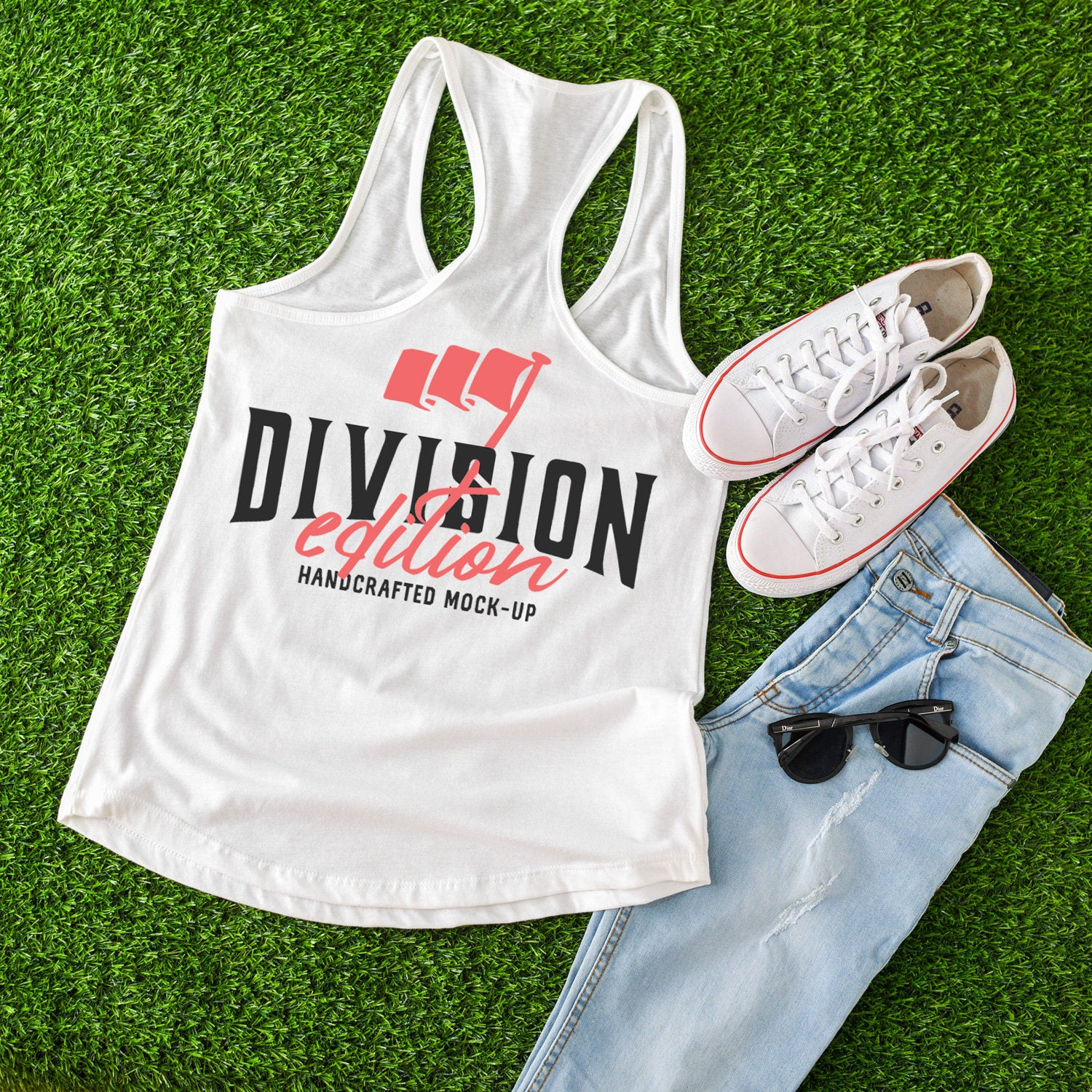 Summer Mockup 4th of July Mockup with Flags Women Ideal Racerback Tank Styled Mockup Flat Lay Next Level 1533 Black