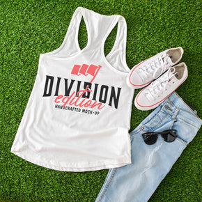 Back Tank top Mockup -Next Level - Women Ideal Racerback Tank Mock-up - 1533  - Outfit Flat lay - Apparel Photography1152