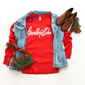 Christmas Mockup - Bella + Canvas - Long Sleeve Jersey Tee - 3501 - Red - Outfit Flat lay - Apparel Photography
