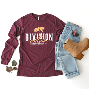 Shirt Mockup  - Bella + Canvas - Long Sleeve Jersey Tee - 3501 -  Maroon Triblend - Outfit Flat lay - Apparel Photography #0545