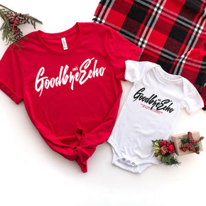 Christmas Mockup - Bella + Canvas 3001 Red - Baby Short Sleeve Onesie - 100B T-Shirt Mockup - Apparel Photography - Flat lay
