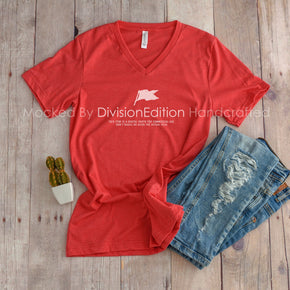 Shirt Mockup  -  Bella + Canvas - Unisex Short Sleeve V-Neck Jersey T-Shirt  - 3005 Heather Red - Outfit Flat lay - Apparel Photography #0515