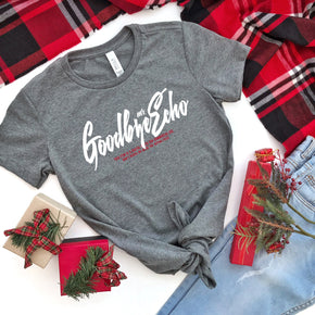 Christmas Shirt Mockup - Bella + Canvas - Women's The Favorite Tee - 6004 Deep Heather - Outfit Flat lay - Apparel Photography