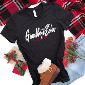 Christmas Shirt Mockup - Bella + Canvas - Women's The Favorite Tee - 6004 Black Heather - Outfit Flat lay - Apparel Photography
