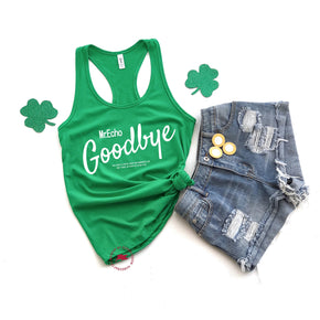 St patrick's day - Shirt Mockup - Next Level - Women's Ideal Racerback Tank - 1533 Kelly Gree - Outfit Flat lay - Apparel Photography
