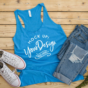 Tank Top Mockup - Bella + Canvas - Women's Triblend Racerback Tank 8430 Aqua Triblend - Apparel Photography #1079