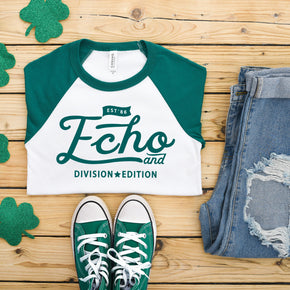 St Patrick mockup - Bella + Canvas 3200 Kelly - Raglan mockup - flat lay - photography #1038