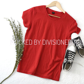 Shirt Mockup  - Anvil - Women's Lightweight Ringspun T-Shirt - 880 Red - Outfit Flat lay - Apparel Photography #0527