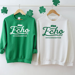 Couple Sweatshirt mockup - Gildan  - Heavy Blend Crewneck Sweatshirt - 18000 mockup - Irish Green - White - flat lay - photography #0317