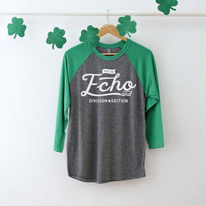 St Patrick's Day mockup -Next Level - Unisex Tri-Blend Three-Quarter Sleeve Baseball Raglan Tee - 6051 - flat lay - photography #1053
