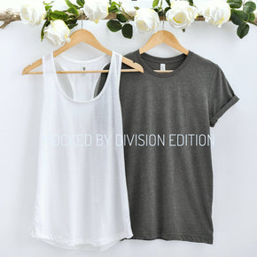 Couple Mockup  - Bella Canvas 3001 Dark Heather  Shirt - next level 1533 White Tank top Mockup- Outfit Flat lay - Apparel Photography201