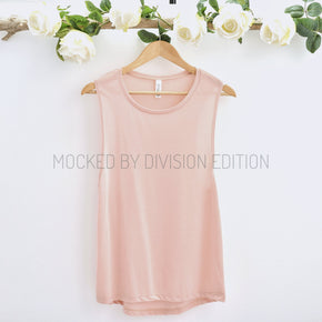 Tank Top Mockup -Bella + Canvas - Women's Flowy Muscle Tank - 8803  peach - Apparel Photography #1148