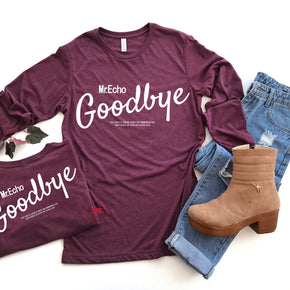 Front & Back Shirt Mockup - Bella + Canvas - Long Sleeve Jersey Tee - 3501 - Maroon Tri - Outfit Flat lay - Apparel Photography