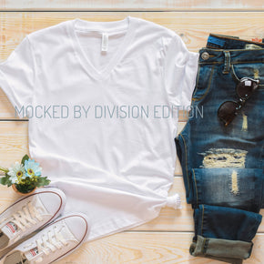 Shirt Mockup  - Bella Canvas 3005 Shirt - white   - Outfit Flat lay - Apparel Photography #0806