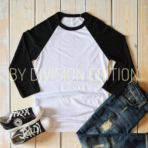 Shirt Mockup - Bella Canvas 3200 - Raglan mockup - flat lay - photography #0341