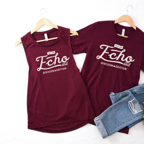 Couple Mockup -Bella + Canvas - Women's Flowy Muscle Tank - 8803  Maroon - 3001 Maroon - Apparel Photography252