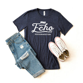 Shirt Mockup  - Bella Canvas 3001 Shirt - Heather Navy - Outfit Flat lay - Apparel Photography #0688