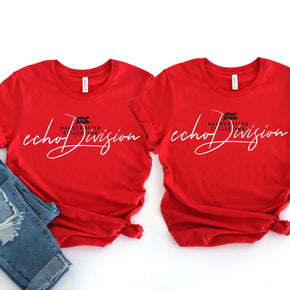 Free Couple Shirt Mockup  - Bella Canvas 3001 Shirt -Red - Outfit Flat lay - Apparel Photography #0263