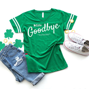 St Patrick's Day - Shirt mockup - LAT - Women's Football V-Neck Fine Jersey Tee - 3537 flat lay - photography