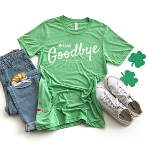St Patrick's Day - Shirt Mockup - Bella Canvas 3413  Green Tri T-Shirt Mockup - Apparel Photography - Flat lay