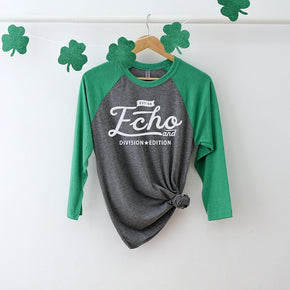 St Patrick's Day mockup -Next Level - Unisex Tri-Blend Three-Quarter Sleeve Baseball Raglan Tee - 6051 - flat lay - photography #1055