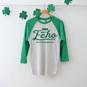 St Patrick's Day mockup -Next Level - Unisex Tri-Blend Three-Quarter Sleeve Baseball Raglan Tee - 6051 - flat lay - photography #1052