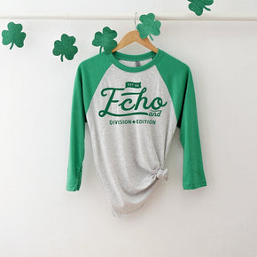St Patrick's Day mockup -Next Level - Unisex Tri-Blend Three-Quarter Sleeve Baseball Raglan Tee - 6051 - flat lay - photography #1054