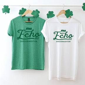 St Patrick's Day - Couple Shirt Mockup  - Bella Canvas 3001 White - Anvil 880 Heather Green Shirt - Outfit Flat lay - Apparel Photography #1045