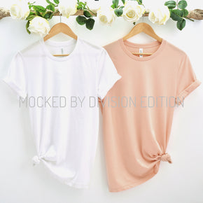 Couple Mockup  - Bella Canvas 3001 Shirt - Heather Peach - Outfit Flat lay - Apparel Photography205