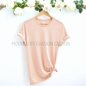 Couple Mockup  - Bella Canvas 3001 Shirt - Peach - Outfit Flat lay - Apparel Photography207