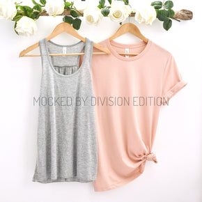 Couple Mockup  - Bella Canvas 3001 Shirt 8800 Tank top Mockup- Outfit Flat lay - Apparel Photography208