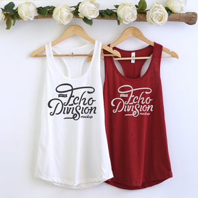Couple Mockup  - Next level 1533 White - Scarlet  Tank top Mockup- Outfit Flat lay - Apparel Photography246