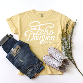 Shirt mockup - Comfort Colors - Butter - Garment Dyed Heavyweight Ringspun Short Sleeve Shirt - 1717 - flat lay - photography #0920