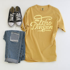 Shirt mockup - Comfort Colors - Mustard - Garment Dyed Heavyweight Ringspun Short Sleeve Shirt - 1717 - flat lay - photography #0965