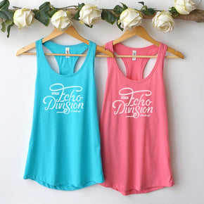 Couple Mockup  - Next level 1533 Tank top  Hot Pink - Tahiti Blue Mockup- Outfit Flat lay - Apparel Photography217