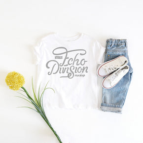 Shirt Mockup - Rabbit Skins - Toddler Fine Jersey Tee - 3321 White- Outfit Flatlay #1033