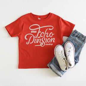 Shirt Mockup - Rabbit Skins - Toddler Fine Jersey Tee - 3321 Red - Outfit Flatlay #1029