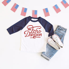 4th of July Shirt mock-up - Bella + Canvas - Toddler Three-Quarter Sleeve Baseball Tee - 3200T - Navy - flat lay - photography64